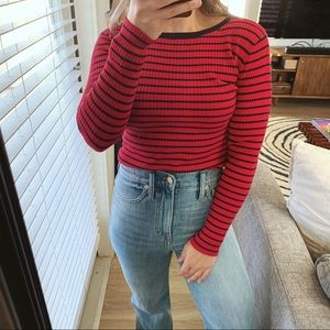 Philosophy Red Striped Crew neck Sweater Small